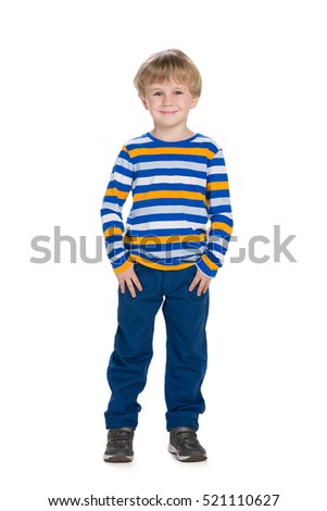 A portrait of a cute fashion little boy on the white background