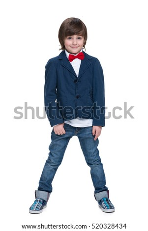 A portrait of a cute little boy in a blue jacket