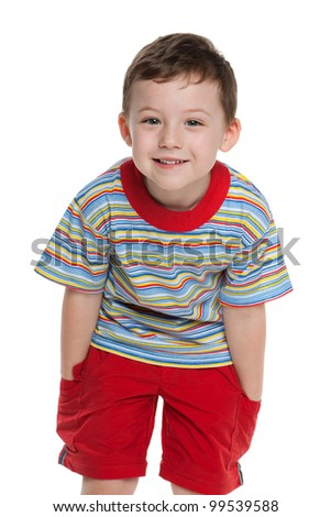 A portrait of a cute little boy in red; isolated on the white background