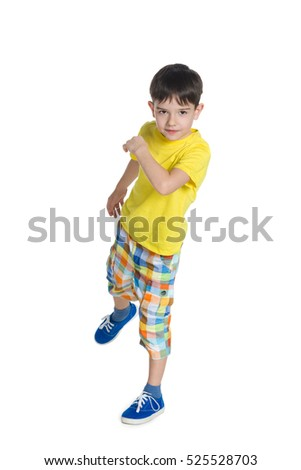 A portrait of a cute little boy on the white background