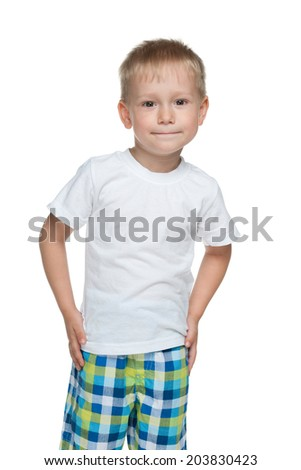 A portrait of a cute preschool boy against the white background