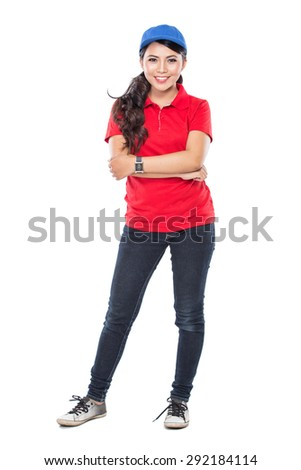 A portrait of a delivery young asian woman isolated in white background - stock photo