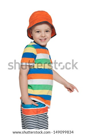 A portrait of a fashion little smiling boy on the white background