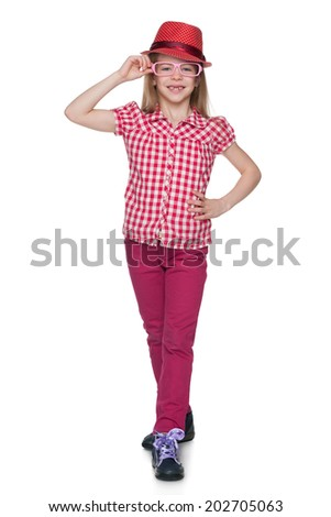 A portrait of a fashion pretty little girl on the white background