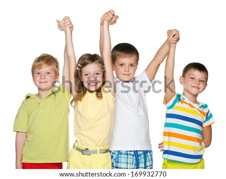 A portrait of a group of four joyful children on the white background - stock photo