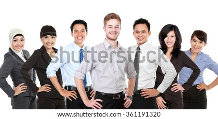 A portrait of a Group of mix race young businessperson - stock photo