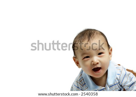 A portrait of a happy cute baby boy - stock photo