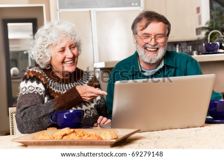 A portrait of a happy senior couple using computer at home - stock photo