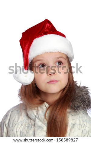 A portrait of a little girl on white background