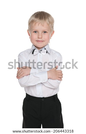 A portrait of a little handsome schoolboy on the white background