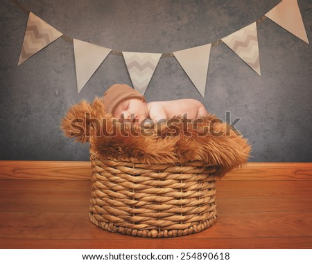 A portrait of a little newborn baby sleeping on a fur blanket on top of old basket for love or celebration photography concept.