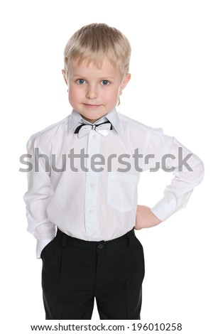 A portrait of a little schoolboy on the white background