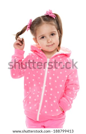 A portrait of a preschool girl against the white background