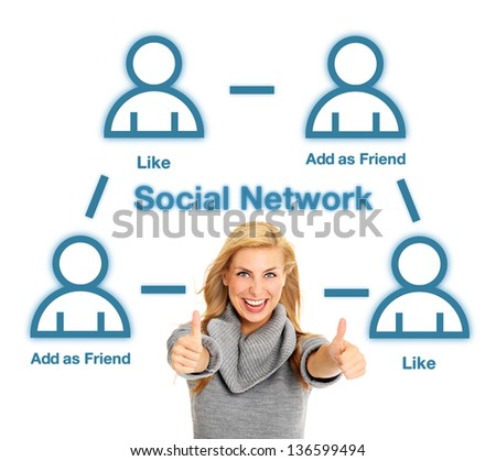 A portrait of a pretty woman and social network structure over white background - stock photo