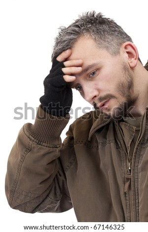 A portrait of a sad man. Isolated on white - stock photo