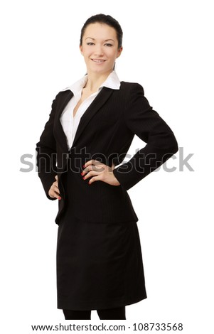 A portrait of a successful businesswoman, isolated on white background - stock photo