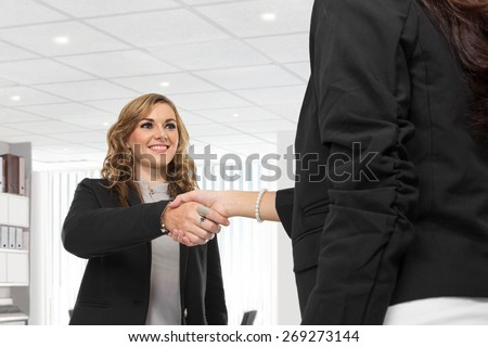 A portrait of a two young businesswoman making a deal and shaking hands - stock photo