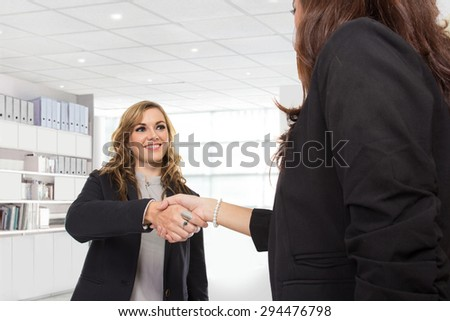 A portrait of a two young businesswoman making a deal and shaking hands in the office - stock photo