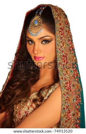A portrait of a young arab woman in a wedding dress