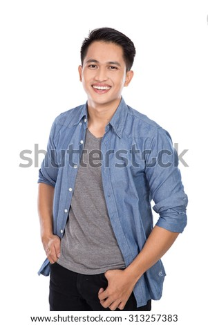 A portrait of a young asian man posing hands on the waist, smile to the camera