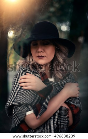838bb9e6ebe Portrait Young Blond Woman Warming Herself Stock Photo (Edit Now ...