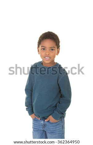 A portrait of a young boy isolated on white