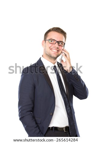 A portrait of a young businessman get a conversation on his handphone