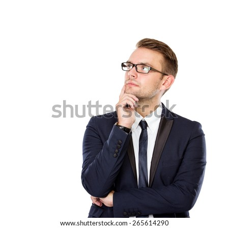 A portrait of a Young businessman Thinking, isolated - stock photo