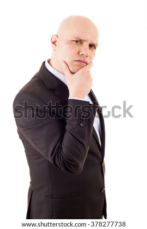 A portrait of a Young businessman Thinking, isolated