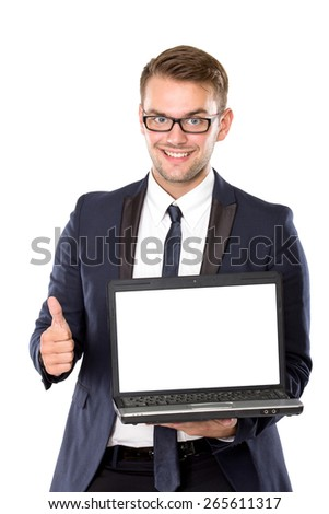 A portrait of a young businessman thinking while bring laptop
