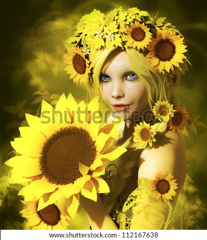 a portrait of a young girl with sunflowers - stock photo