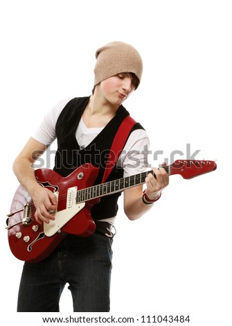 A  portrait of a young guitarist , isolated on white background - stock photo