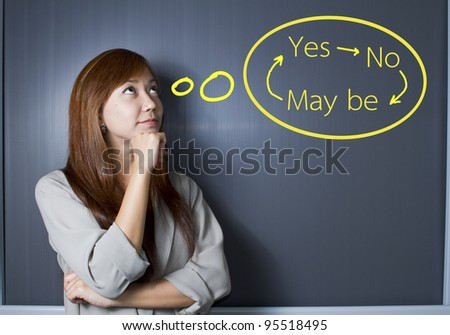 A portrait of a young woman trying to make a decision over white background