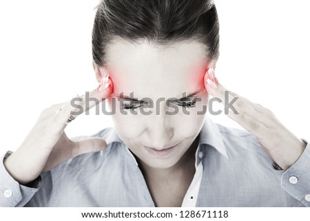 A portrait of a young woman with severe headache suffering over white background - stock photo