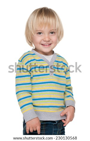 A portrait of an adorable little boy on the white background - stock photo