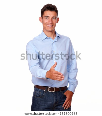 A portrait of an adult hispanic man doing hand greeting while looking at you on isolated background