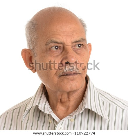 A portrait of an Asian senior man - isolated on white - stock photo