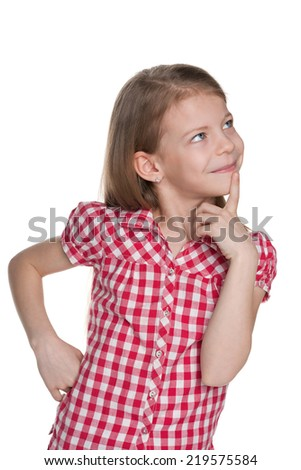 A portrait of an curious pretty little girl on the white background - stock photo