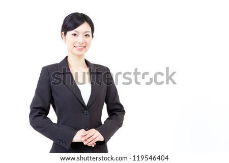 a portrait of asian businesswoman isolated on white background - stock photo