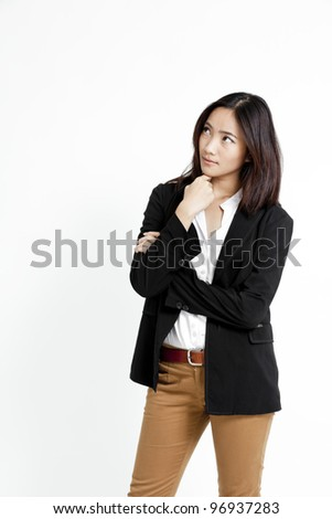 a portrait of asian businesswoman thinking