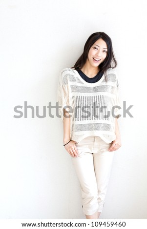 a portrait of asian woman relaxing - stock photo