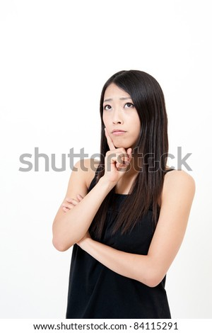 a portrait of attractive asian woman thinking