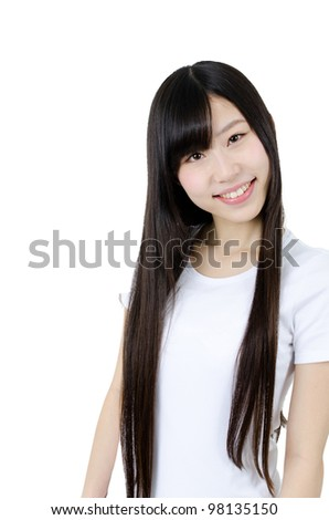 a portrait of attractive asian woman with straight long hair