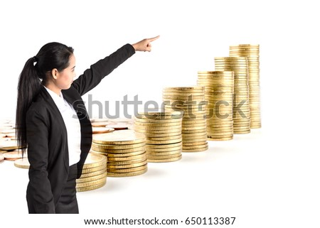 a portrait of beautiful businesswoman pointing coin