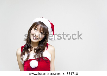 a portrait of beautiful female santa