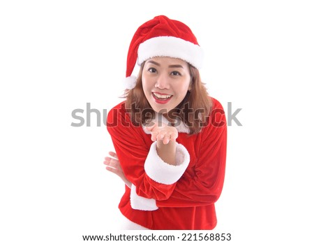 a portrait of beautiful female santa isolated on white background