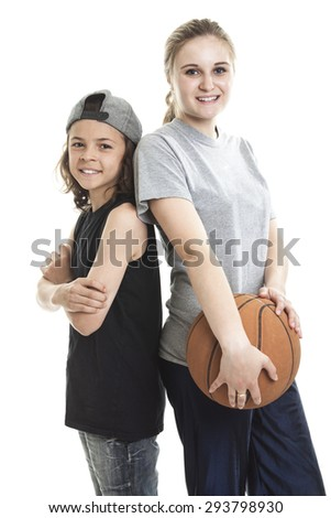 A Portrait of brother and sister with a basket ball