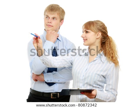 A portrait of businesswoman pointing with man near by on white - stock photo