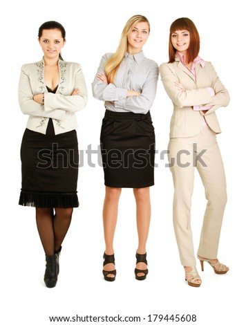 A portrait of businesswomen , isolated on white background. - stock photo