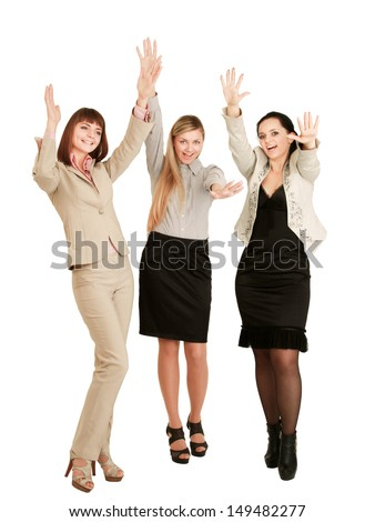 A portrait of businesswomen with hands up , isolated on white